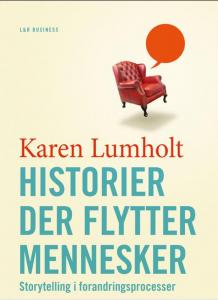 """Bogforside """"Historier der flytter mennesker"""""""